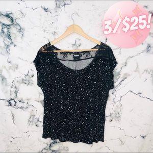 💖3/$25💖 Garage Speckled Lace Insert Shirt Black